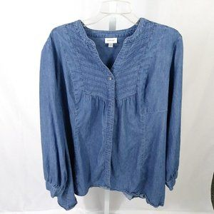 Avenue Chambray Long Sleeved Button Front Top 22/2
